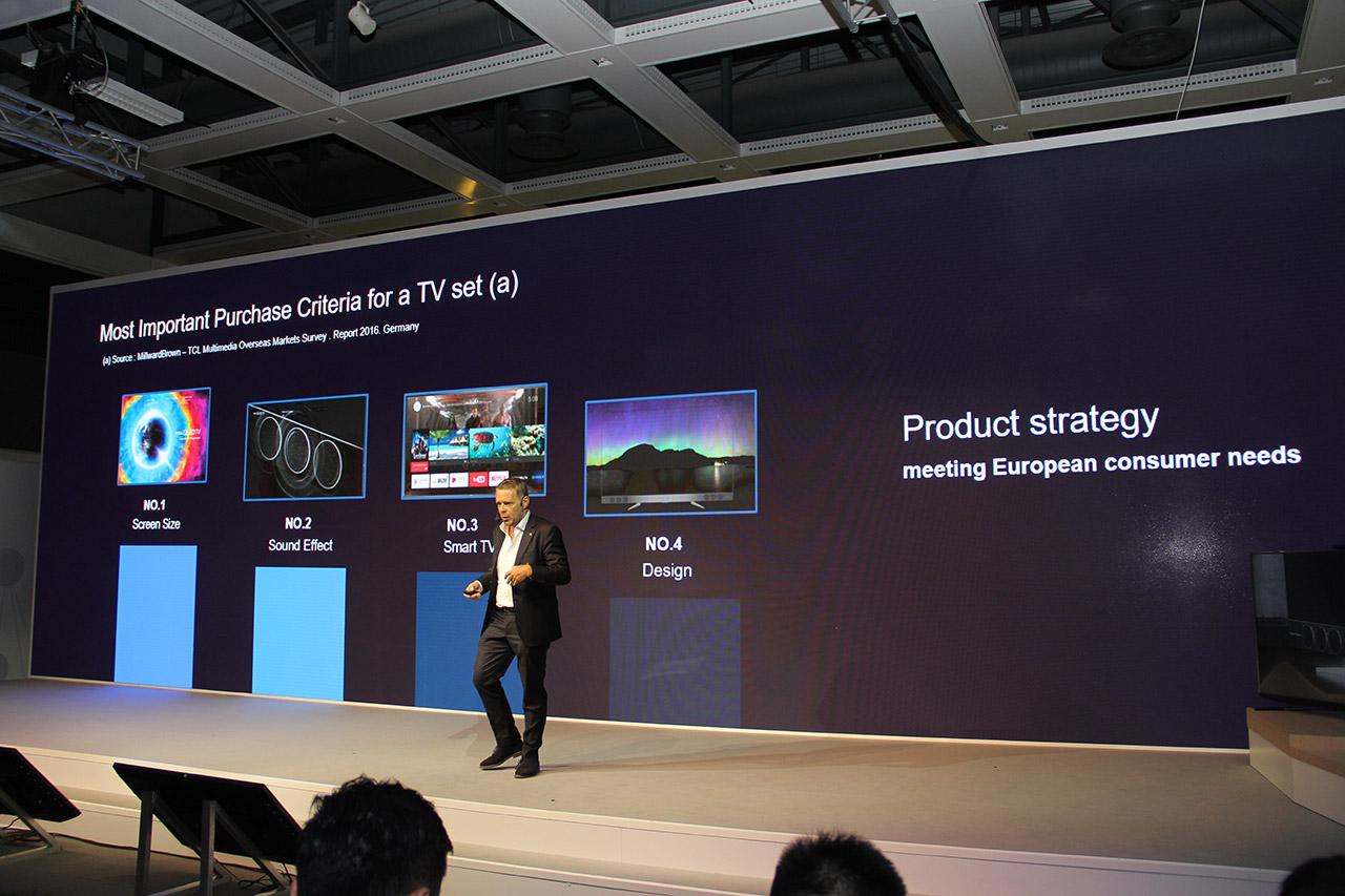 对于欧洲消费者来说,选购电视的重要程度依次为画质、音质、智能和设计,画质依然是最重要的。