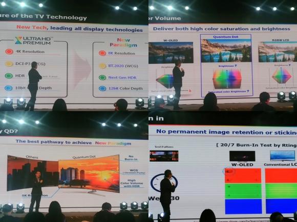 为什么大屏幕要选择QLED,据说是首次公开,主要是针对8K、色域显示和彩色保持!!!看图