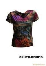 供应大码强弹力100%真丝印花荡领女式T恤针织衫